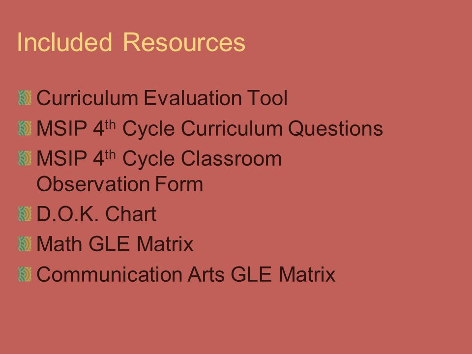 Included Resources Curriculum Evaluation Tool