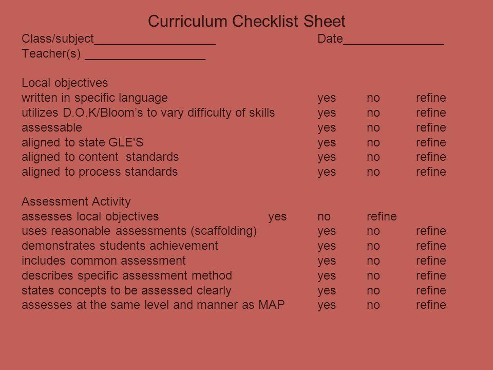 Curriculum Checklist Sheet