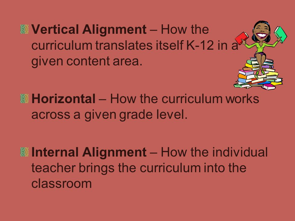 Vertical Alignment – How the curriculum translates itself K-12 in a given content area.