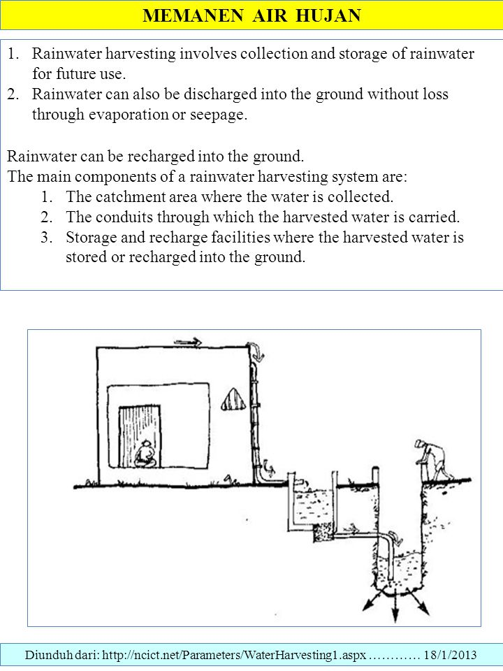 MEMANEN AIR HUJAN Rainwater harvesting involves collection and storage of rainwater for future use.