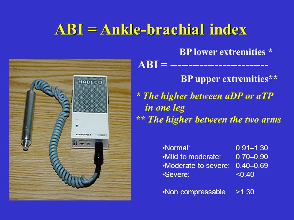 ABI = Ankle-brachial index