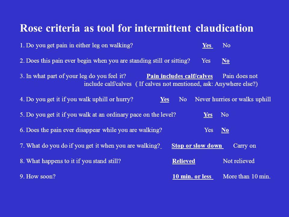 Rose criteria as tool for intermittent claudication 1