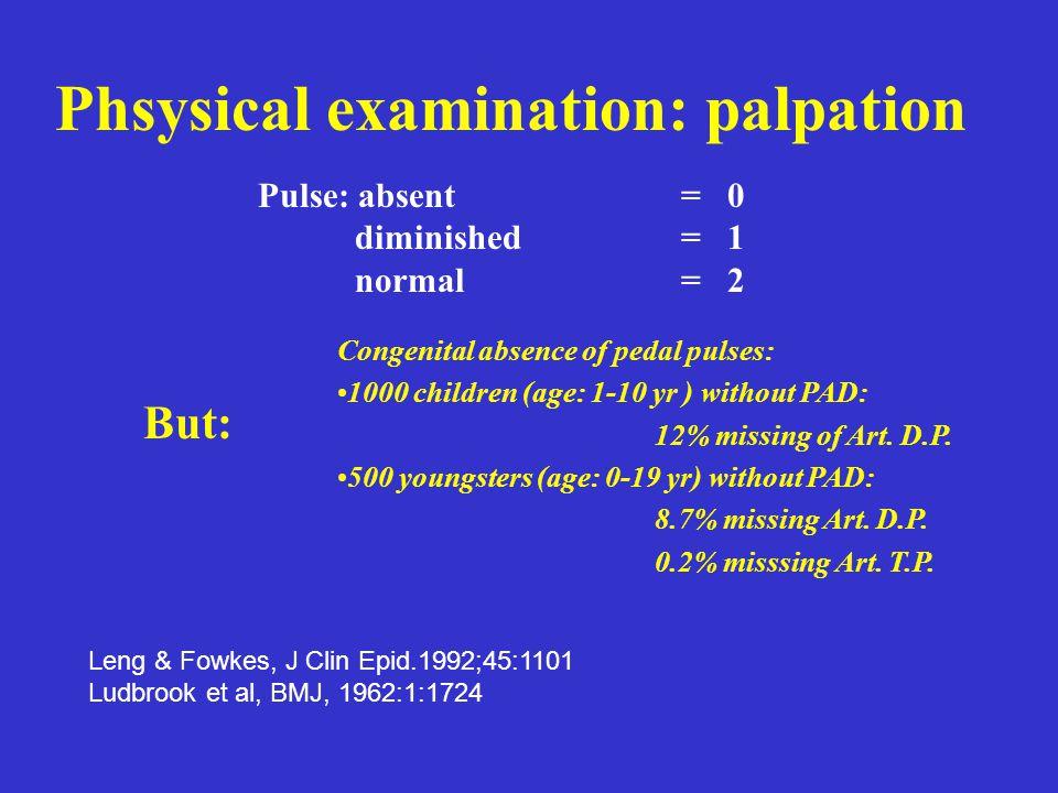 Phsysical examination: palpation