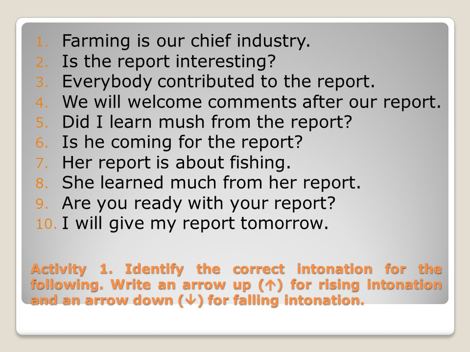 Farming is our chief industry. Is the report interesting