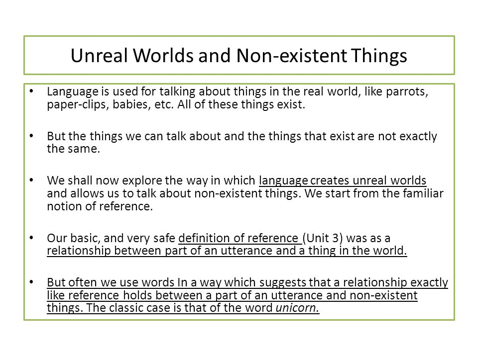 Unreal Worlds and Non-existent Things