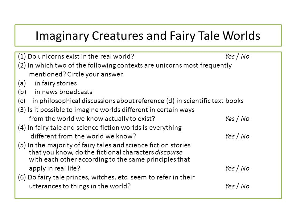 Imaginary Creatures and Fairy Tale Worlds
