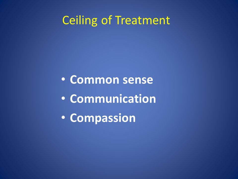 Ceiling of Treatment Common sense Communication Compassion