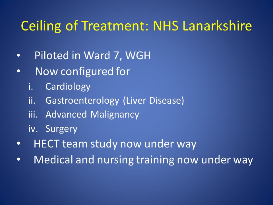 Ceiling of Treatment: NHS Lanarkshire