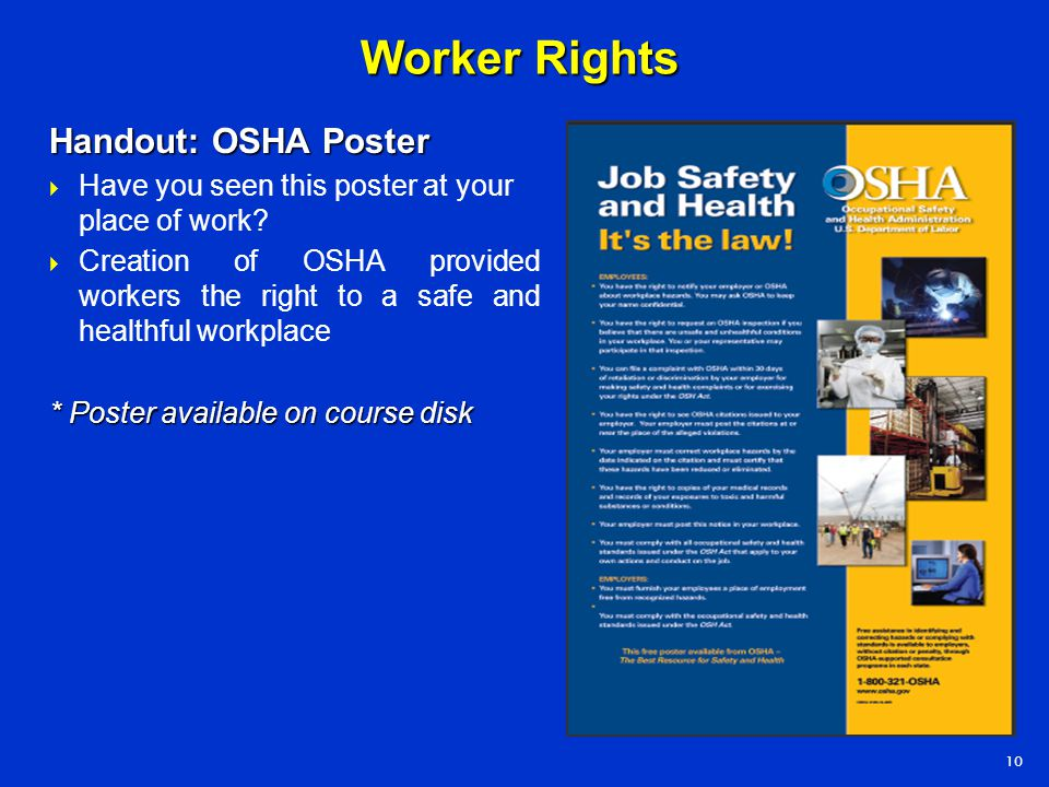 Worker Rights Handout: OSHA Poster