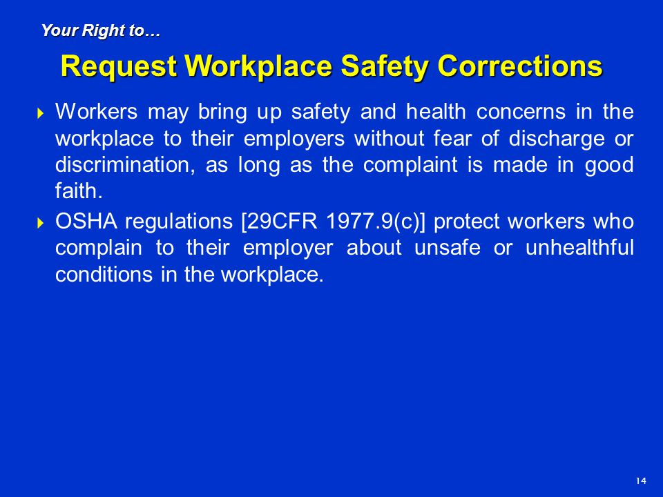 Request Workplace Safety Corrections