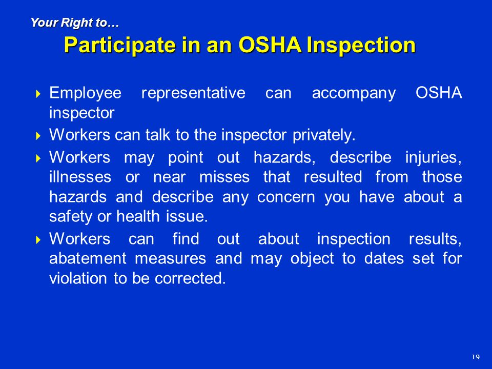 Participate in an OSHA Inspection