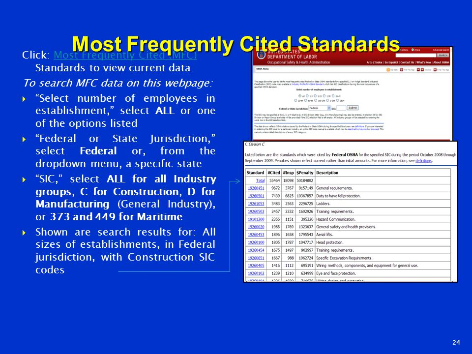 Most Frequently Cited Standards