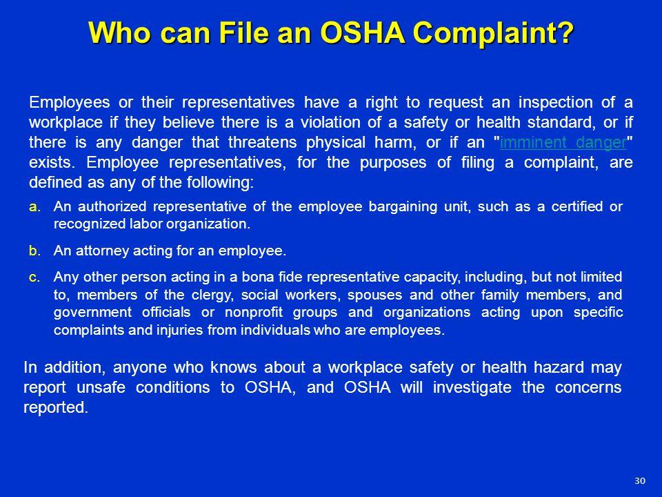 Who can File an OSHA Complaint