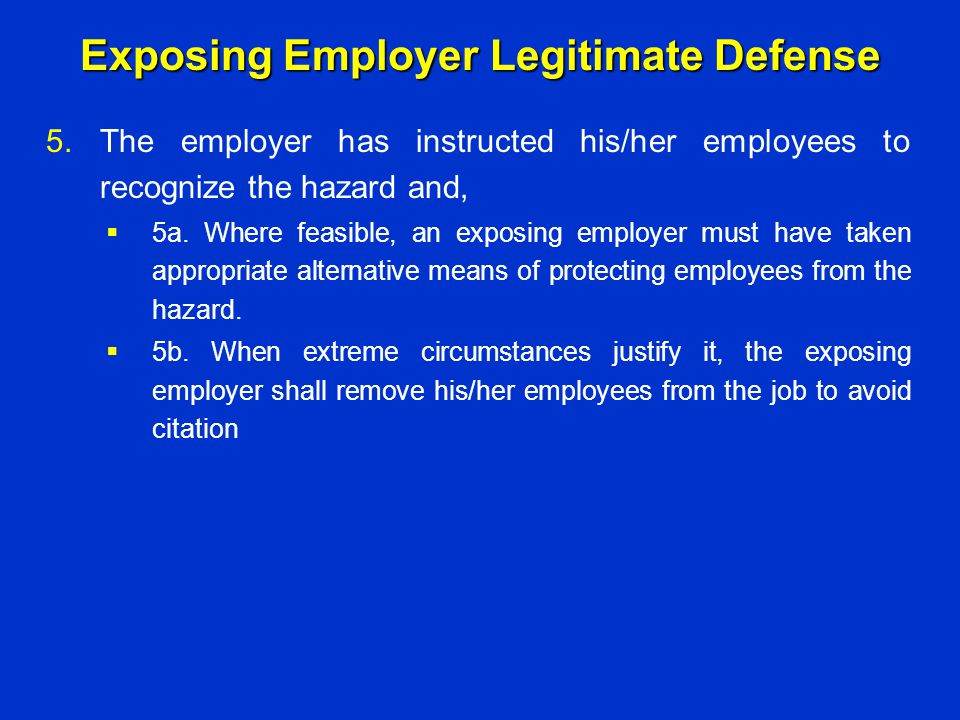 Exposing Employer Legitimate Defense