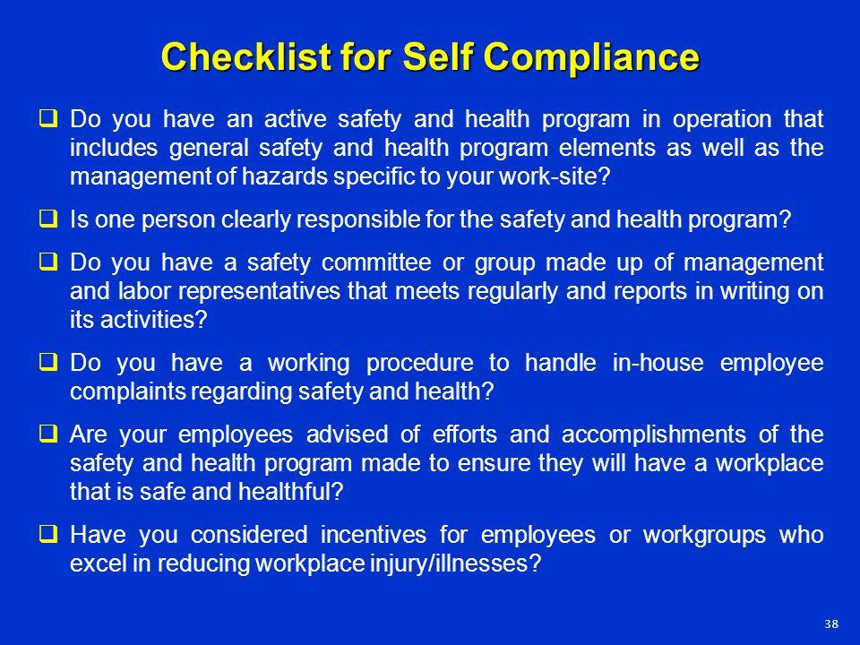 Checklist for Self Compliance