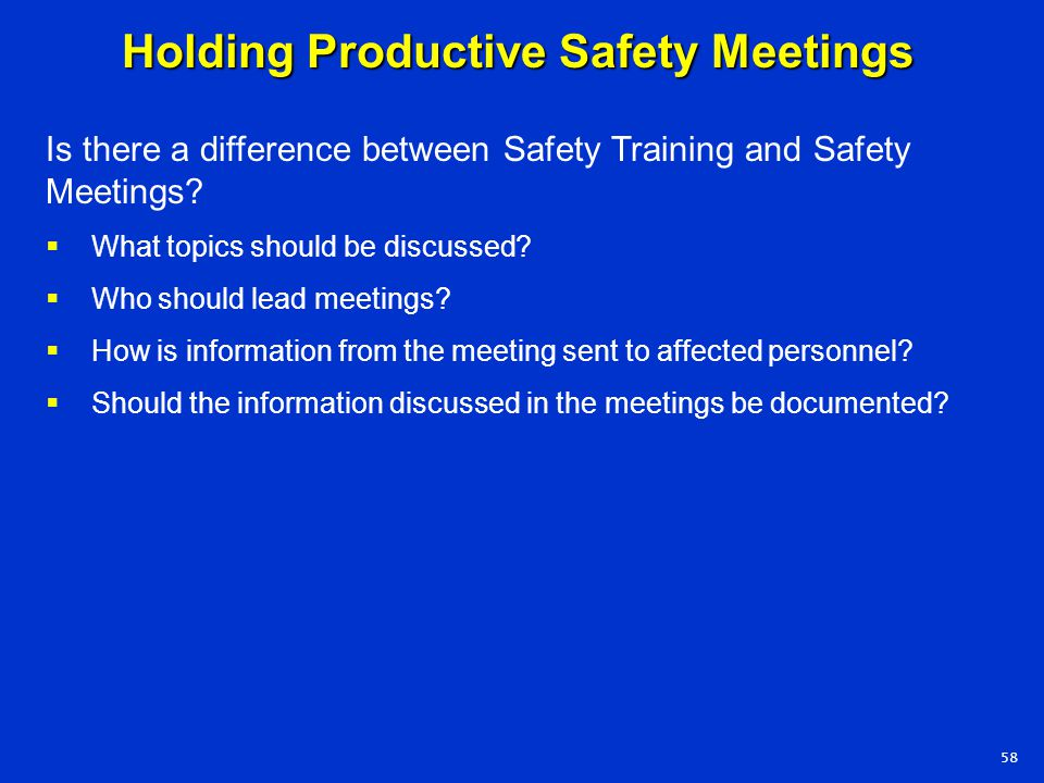 Holding Productive Safety Meetings