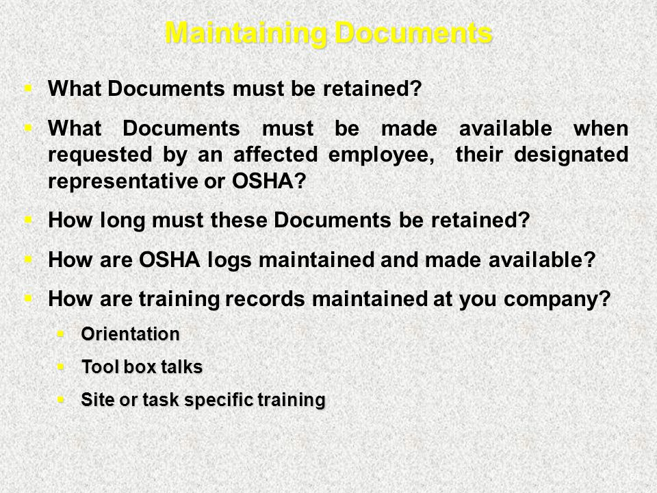 Maintaining Documents