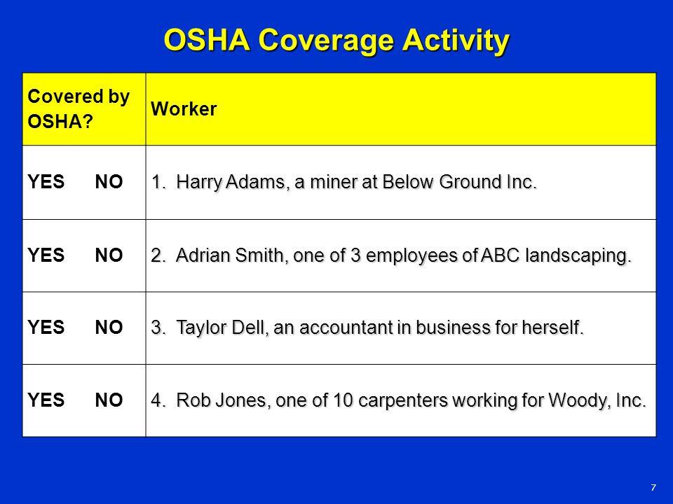 OSHA Coverage Activity