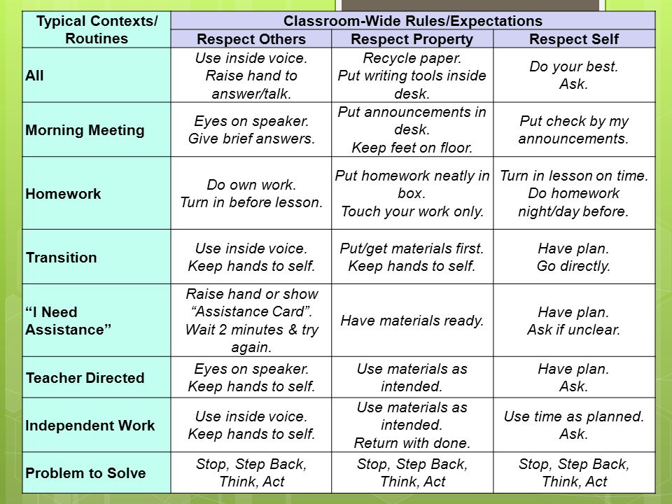 Typical Contexts/ Routines Classroom-Wide Rules/Expectations