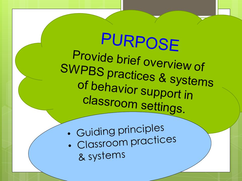 PURPOSE Provide brief overview of SWPBS practices & systems of behavior support in classroom settings.