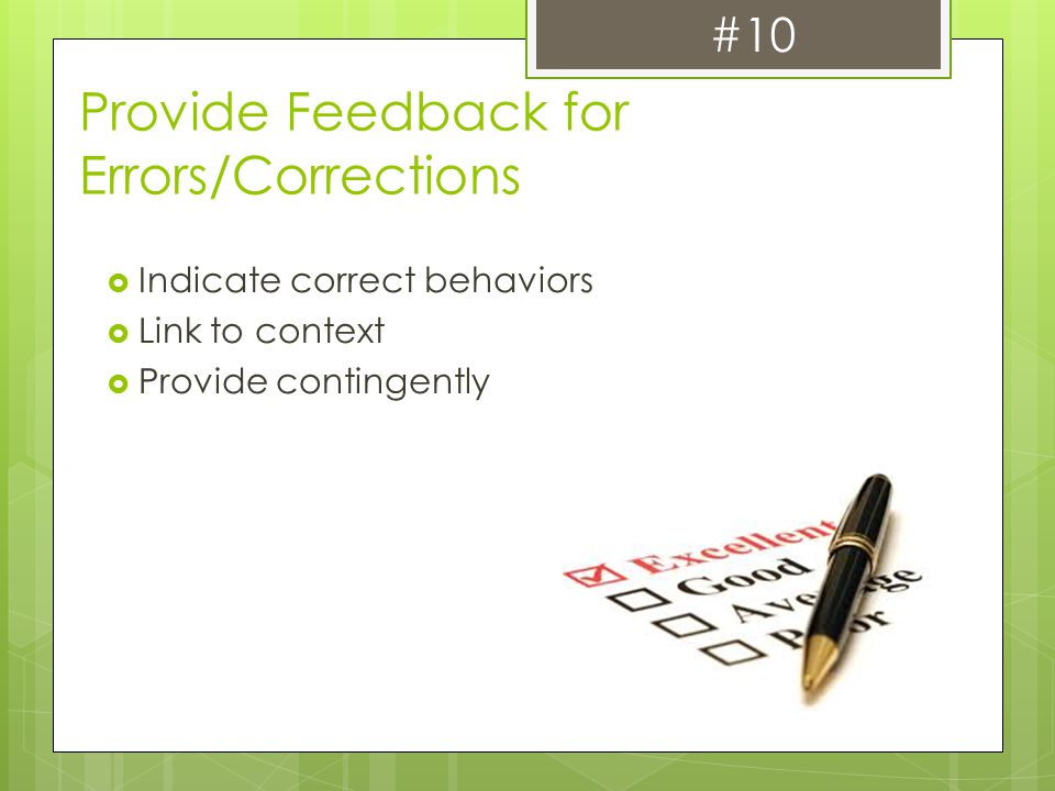 Provide Feedback for Errors/Corrections