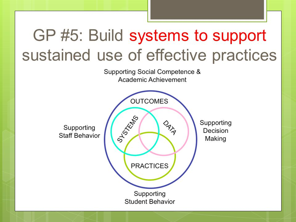 GP #5: Build systems to support sustained use of effective practices