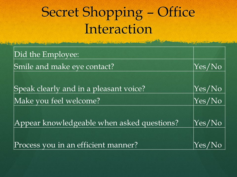 Secret Shopping – Office Interaction