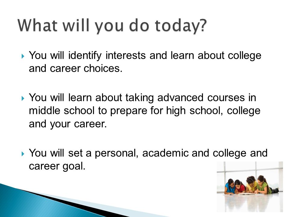 What will you do today You will identify interests and learn about college and career choices.