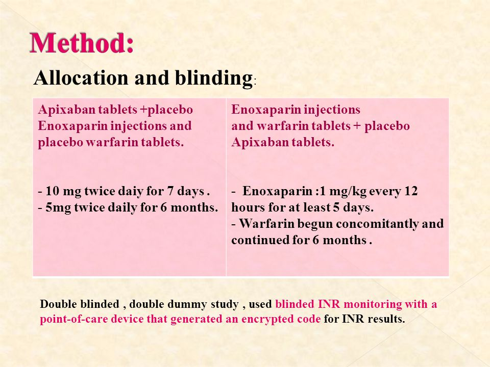 Method: Allocation and blinding: Enoxaparin injections