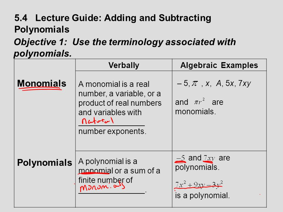 5.4 Lecture Guide: Adding and Subtracting Polynomials