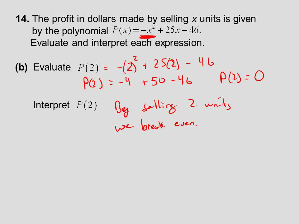 14. The profit in dollars made by selling x units is given