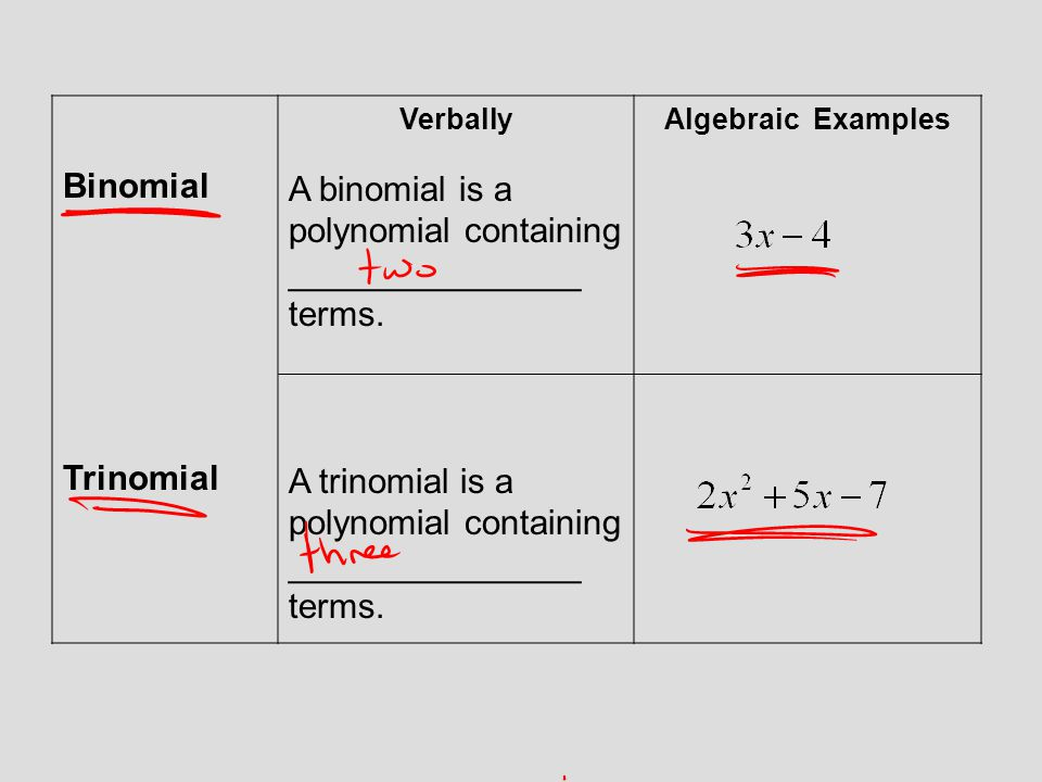 A binomial is a polynomial containing _______________ terms.