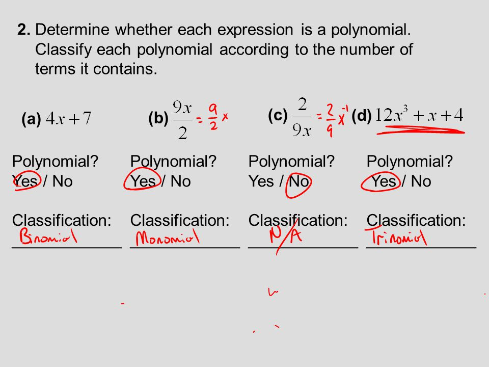 2. Determine whether each expression is a polynomial.