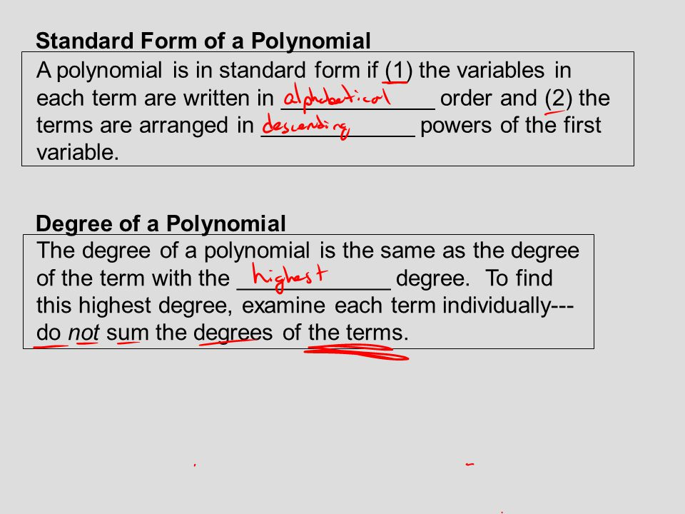 Standard Form of a Polynomial