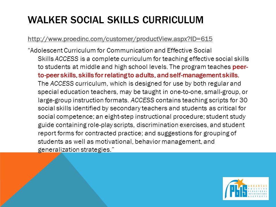 Walker social skills curriculum