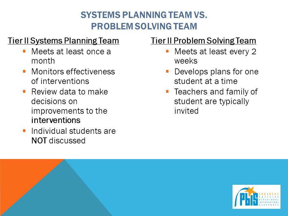 Systems Planning Team vs. Problem Solving Team