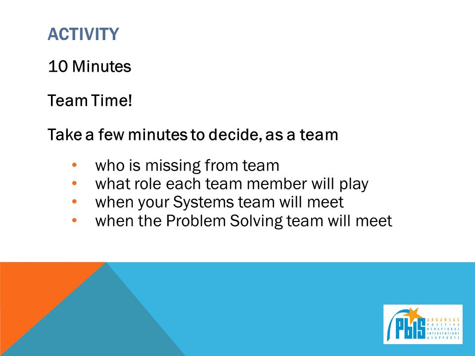 Activity 10 Minutes Team Time! Take a few minutes to decide, as a team