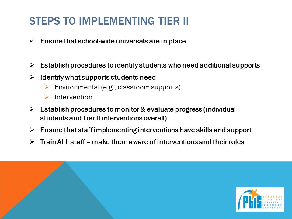 Steps to implementing tier II