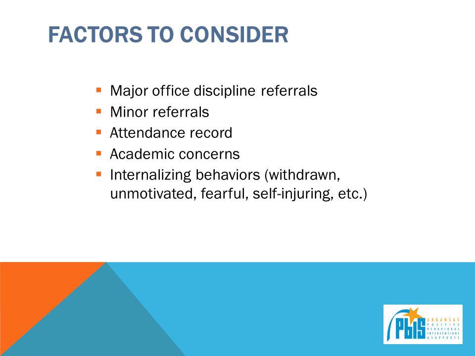 Factors to Consider Major office discipline referrals Minor referrals
