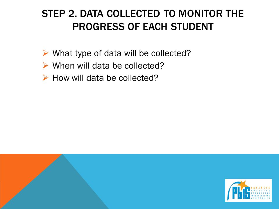 Step 2. Data collected to monitor the progress of each student