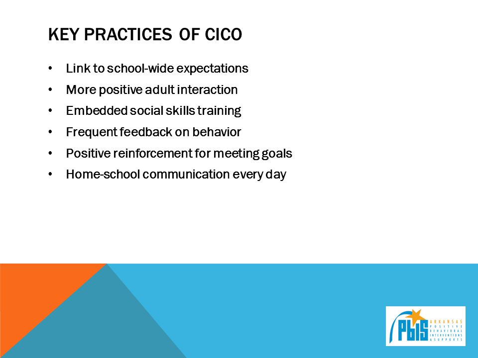 Key practices of CICO Link to school-wide expectations