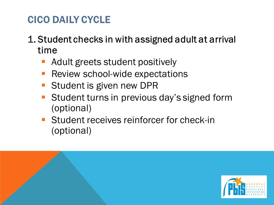 CICO Daily Cycle Student checks in with assigned adult at arrival time