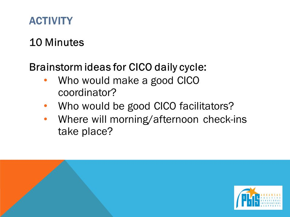 Brainstorm ideas for CICO daily cycle: