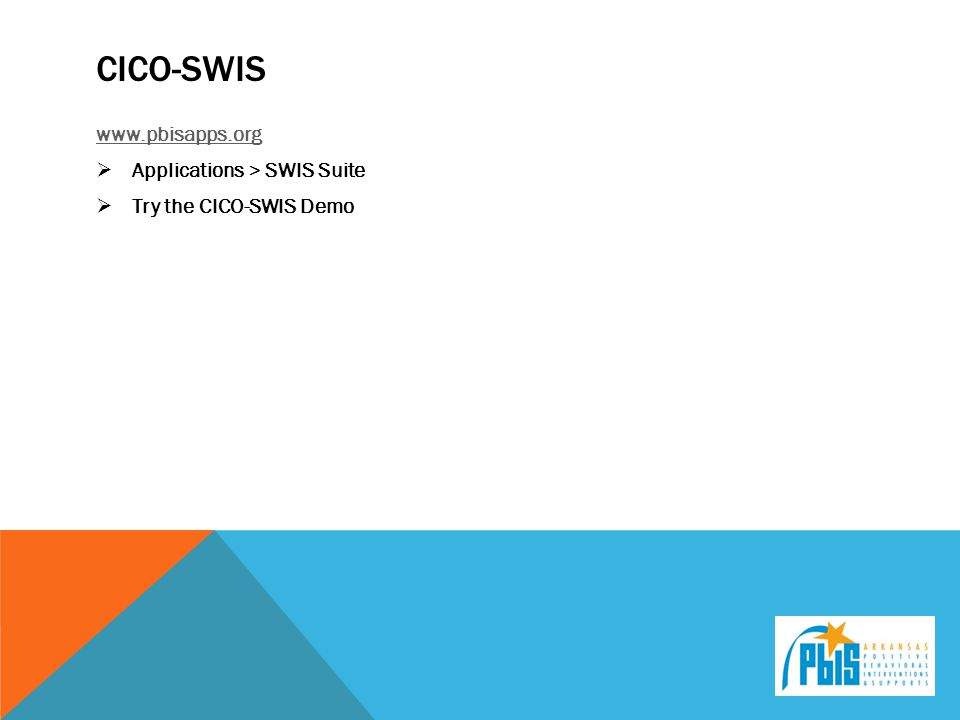 Cico-swis www.pbisapps.org Applications > SWIS Suite