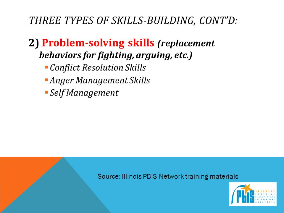 Three types of skills-building, cont'd: