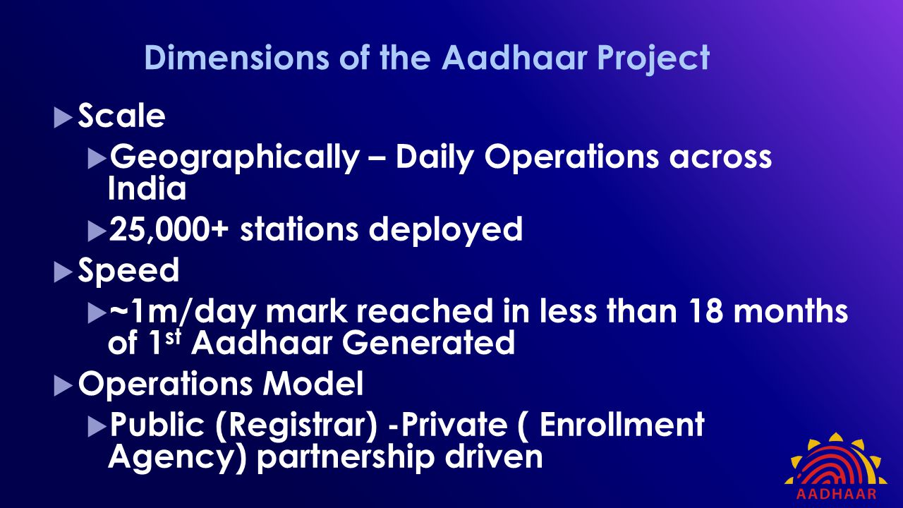 Dimensions of the Aadhaar Project