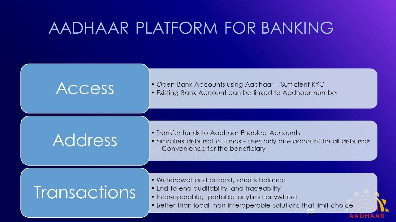 AADHAAR PLATFORM FOR BANKING