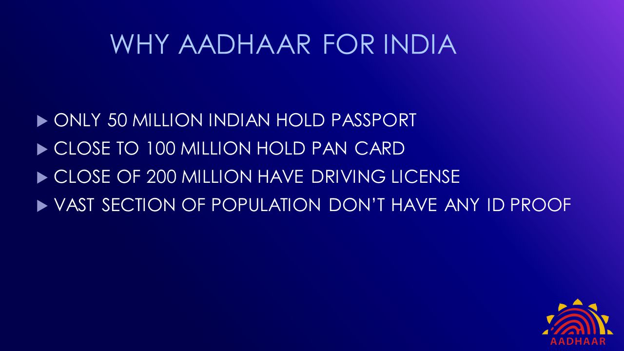 WHY AADHAAR FOR INDIA ONLY 50 MILLION INDIAN HOLD PASSPORT