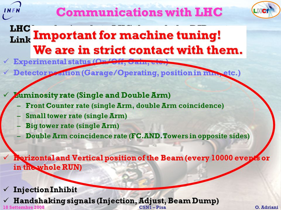 Communications with LHC