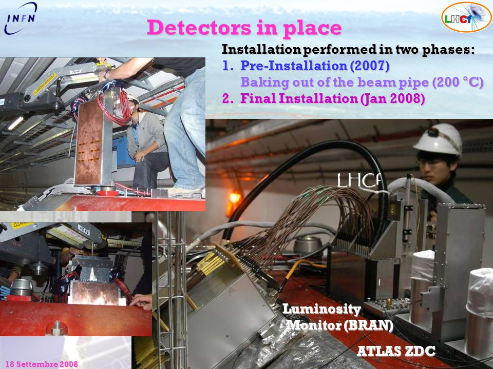 Detectors in place Installation performed in two phases: